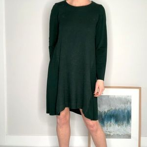 COS | Green Wool A Line Shirt Dress L C35